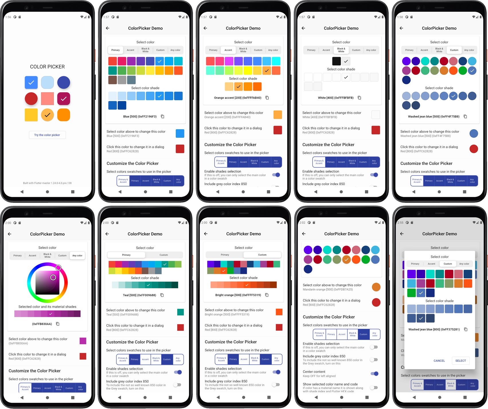 ColorPicker screens